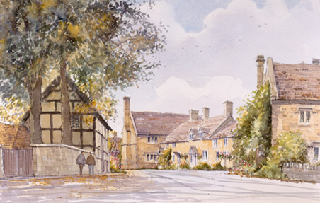 The Village of Stanton - a watercolour by John Davis
