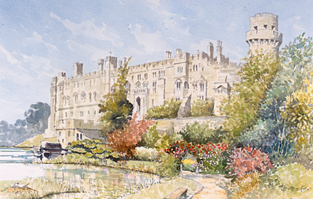 Warwick Castle - a watercolour by John Davis